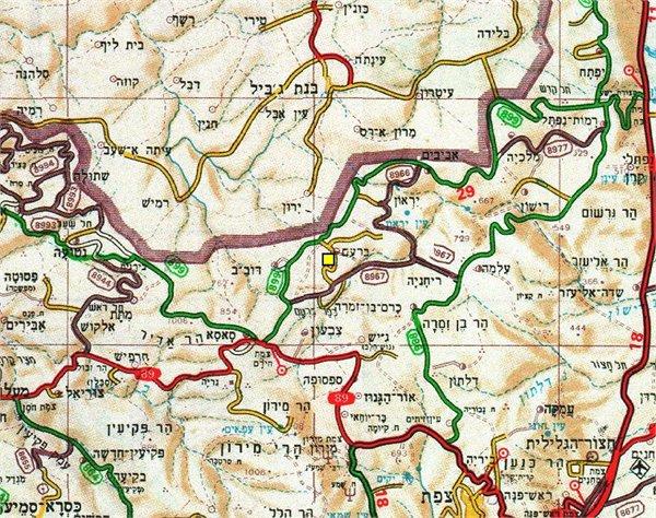 מפת האזור של חוות מתתיהו